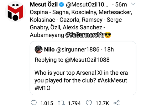 #ASKMESUT: SEE Ozil's Answer When Asked Who Is Top Arsenal XI Is And If He Would Sign For Spurs