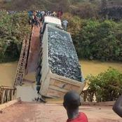 A Bridge Collapses After A Lorry Carrying Construction Materials Passes Through It