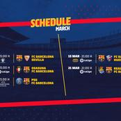 Schedule Reminder: Check out all upcoming Barca's matches in March.
