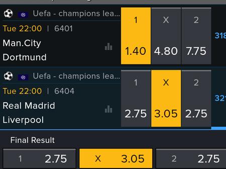 Tuesday UEFA Championship League Teams To Win