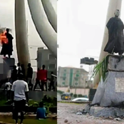 The Hoodlums Have Done It Again, Reactions As Angry Hoodlums Set Azikiwe's Statue Ablaze(See Photos)
