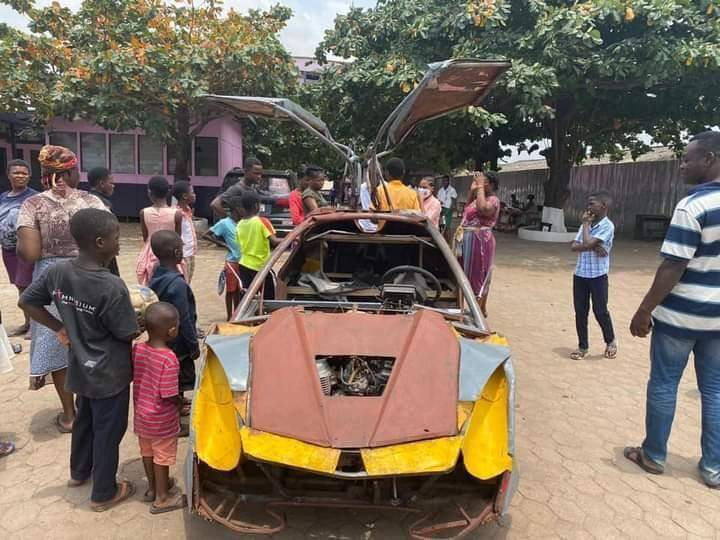 ea81f9505b151a4d4f6d212833501711?quality=uhq&resize=720 - Deputy Minister for Gender takes a ride in the 18-year JHS Boy's Lamborghini Car He Made. Watch video