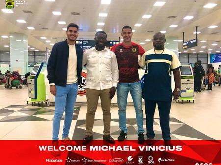 Good News Hits Asante Kotoko As They Confirm The Arrival Of Michael Vinicius In Ghana