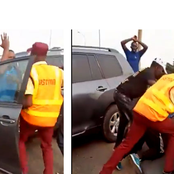 Video: Moment Lagos State Motorist Knocks Down A Police Officer Off A Bridge Into Canal