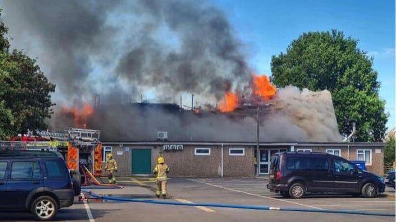 Bromham fire: crews battle blaze at village social centre