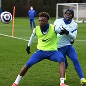 Chelsea players working hard in training ahead of Manchester United game on Sunday