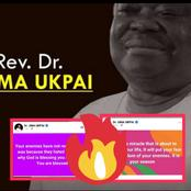 Rev. Uma Ukpai Drops 2 Strong Prophetic Declarations About Enemies In The Life Of Every Christian