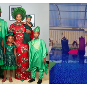 Check Out Pictures Of Mercy Johnson And Her Children Try To Walk On The Water