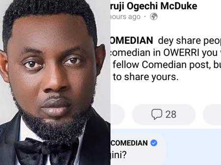 Check Out The Response AY Gave To A Facebook User That Commended Him For Always Sharing People's Post