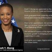 US congratulates Enoh Ebong appointed by Joe Biden