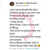 Lady ordered taxi to go see a man, then this happened