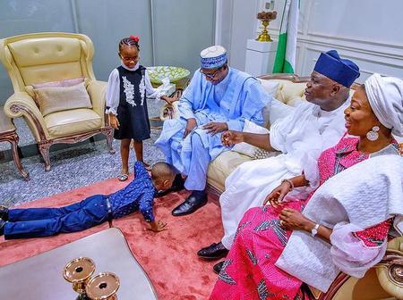 Throwback photo of Ambode's children  paying courtesy to President Buhari