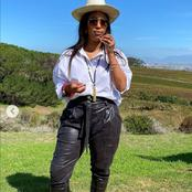 Minnie Dlamini-Jones left fans gushing over her beauty on her latest pictures in a Vineyard.
