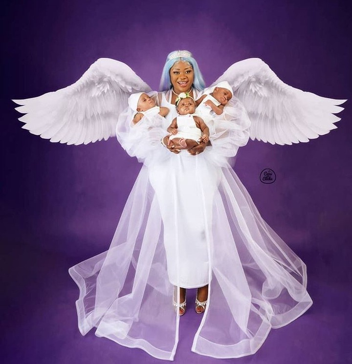 ece6f97420402ed2e58ce2b6985e7dff?quality=uhq&resize=720 - Bofowaa Shares More Photos To Show Faces Of Her Adorable Triplets As She Rocks In An Angel Costume