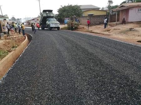Photos: Government Of Ghana Completes Road In Omanjor At The Greater Accra Region