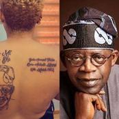 After This Bold Nigerian Lady Tattooed Tinubu's Face On Her Back, See How Nigerians Are Reacting