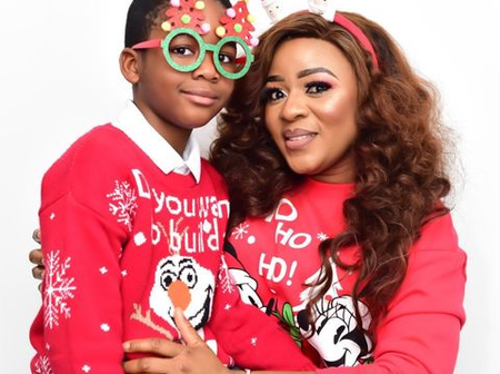 Reactions As Popular Yoruba Actress And Son Twin In The Same Outfit