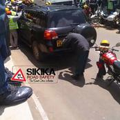 Happening Now: Angry Bodaboda Riders Protest After V8 Hit One Of Them.