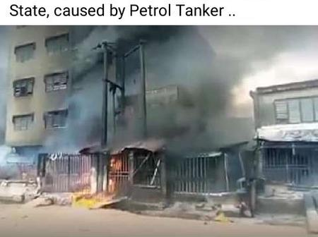 Buildings On Fire At Onitsha Anambra State Caused By A Petrol Tanker