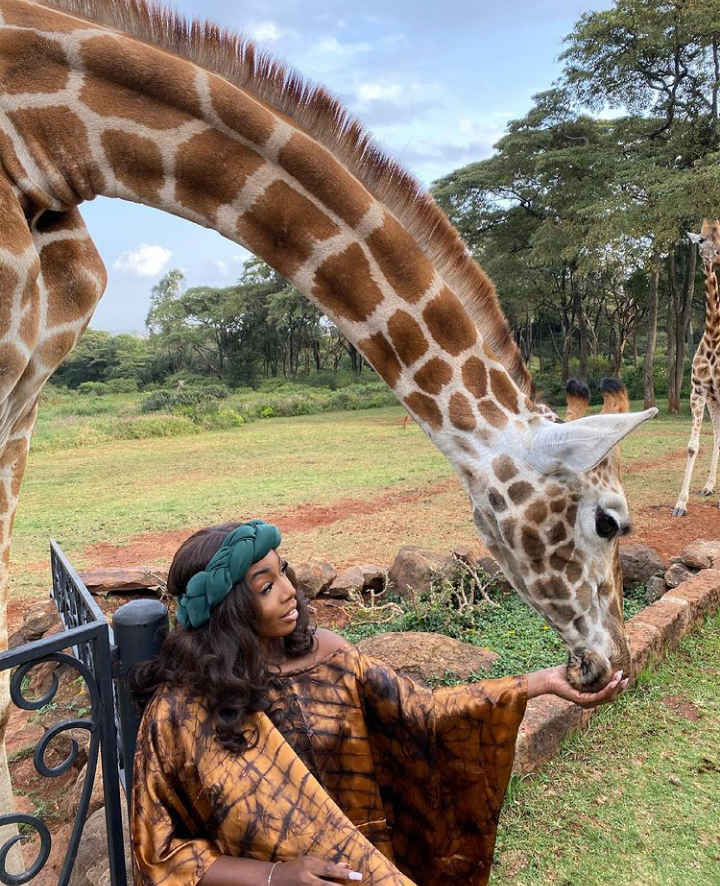 Check Out Lovely Pictures of BBNaija Tolanibaj, Prince And Dorathy Spending Time With Giraffes 17