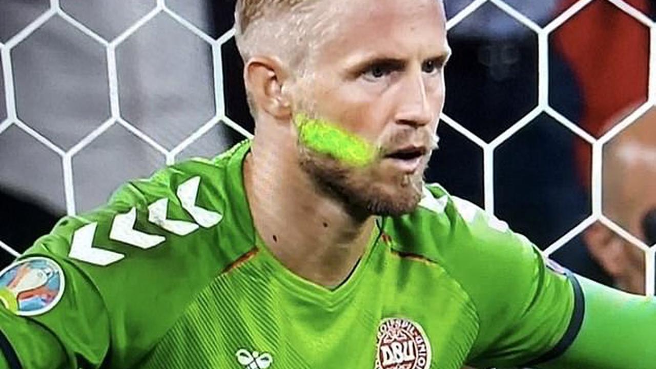 Kasper Schmeichel had laser shone in face during Harry Kane's winning England penalty