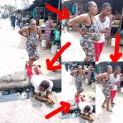 See What Man Did After His Pregnant Wife Could Not Cross Gutter That Made People React (Photos)