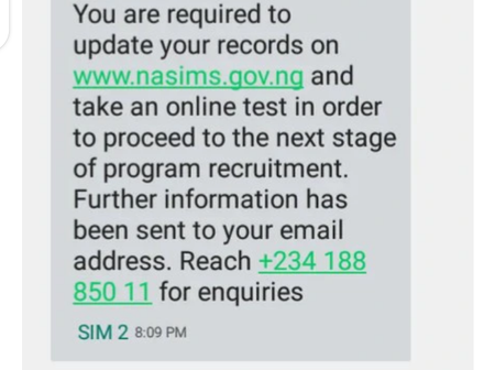 Npower: Screenshot of the message sent to successful applicants, applicants below 65% take note.