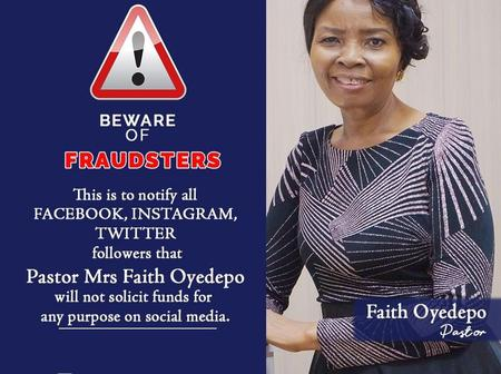 Bishop Oyedepo's Wife sends a disclaimer for everyone to be aware of, you should see this