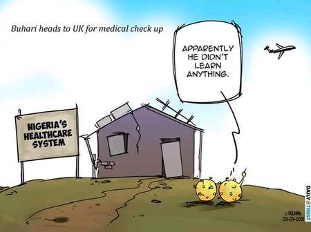 Bulama Cartoons Releases Another Design About Buhari's Medical Trip
