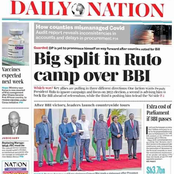 Ruto's Camp Split Over BBI, New TTCs Rules Headache To learners And Others in Today's Newspapers.