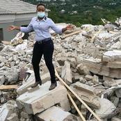 Woman Poses For A Photo After Her Boyfriend Demolished The Mansion He Built For Her