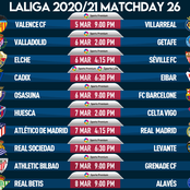 Spanish Laliga Game-Week 26 fixtures for Friday, Saturday, Sunday, and Monday