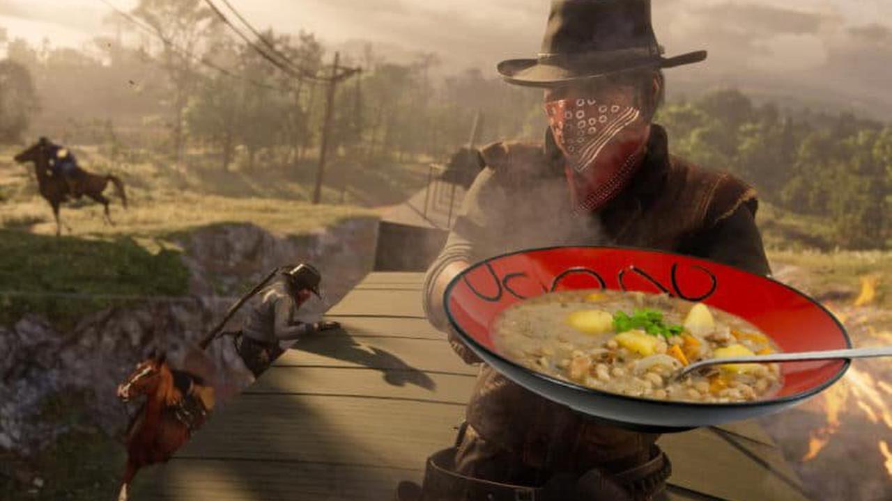 Netzfund: Red Dead Online Spieler tragen Teller mit Eintopf quer durchs Land
