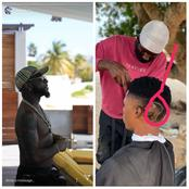 See How Davido Reacted After A Barber Drew His Face On A Customer's Head