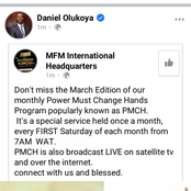 See the New Update Dr. D. K. Olukoya Gave Concerning the MFM
