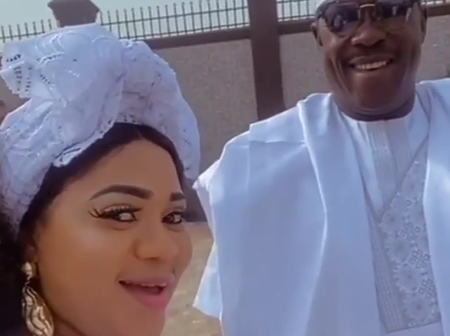 Reactions as Ogogo steps out with an actress to all-white party in Abeokuta