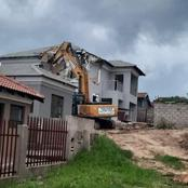 Dumped Man Hires An Excavator To Demolish The House He Built For His Side Chick