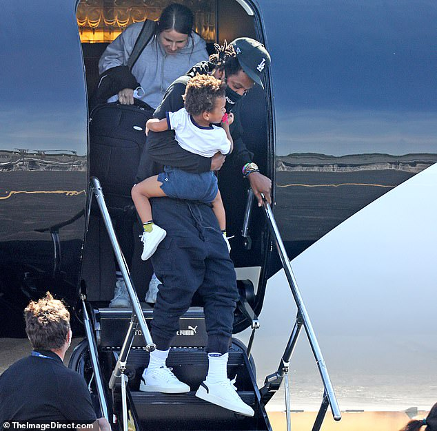 Beyonce and Jay-Z pictured for the first time since lockdown as they exit their private jet with Blue Ivy and their twins for a getaway in the Hamptons