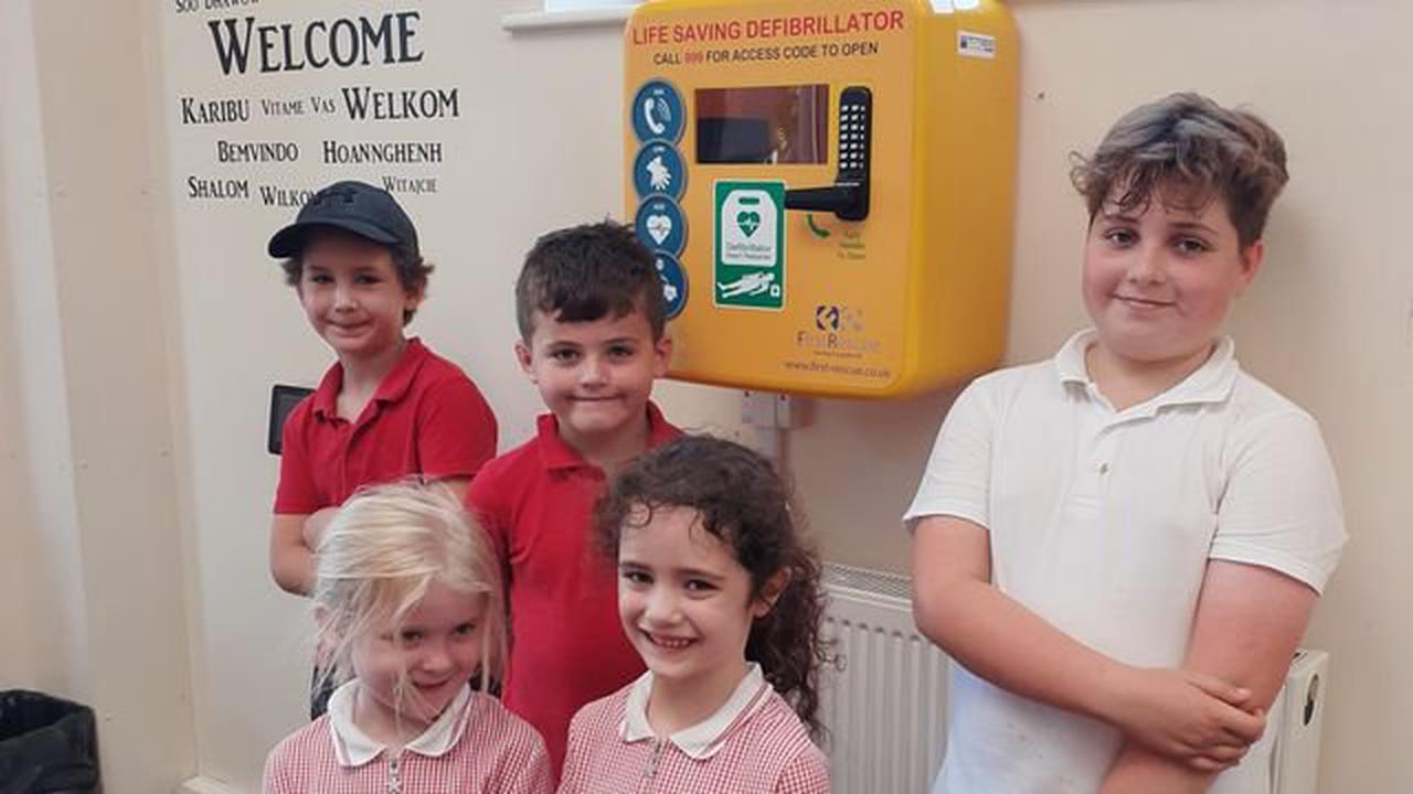 Weston primary installs defibrillator after parent's donation