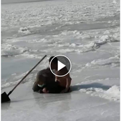 Video: Man Jumps Into Frozen Water To Rescue An Old Woman Who Got Stuck In The Waters