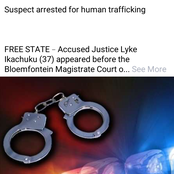 Trafficker(Ikachuku) Arrested in Bloemfontein for human trafficking and forcing a woman into slavery