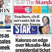 Top Newspaper Headlines For April 15: One Kenya Alliance Divided Over Mudavadi, Gideon Moi 2022 Tick