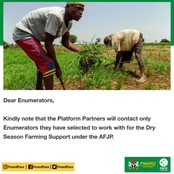 AFJP Farm Enumerators get important information on Dry Season Farming Support jobs