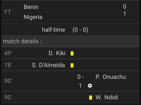 After Nigeria Defeated Benin 1 - 0, In A Wonderful Performance Today, This Is Their Match Analysis