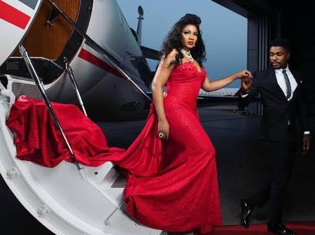 See Beautiful Actress Omotola Jalade Red Chiffon And Ankara Gown
