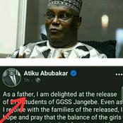 Few Hours After The Release Of 279 Students Of GGSS Jangebe, Check Out Atiku Abubakar's Reaction