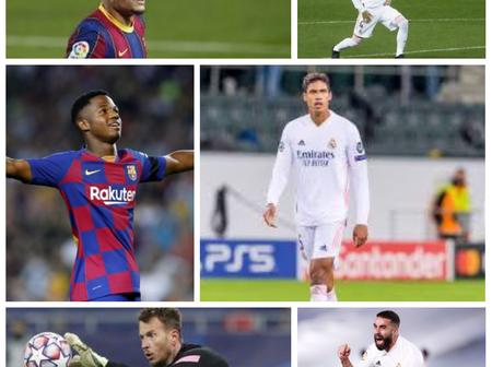 Madrid vs Barcelona: All players who will miss El Classico due to injury or suspension.(With photos)