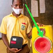 Mixed reactions as a Ghanaian Junior school boy creates bluetooth speaker with gallon