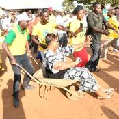 Aisha Jumwa Ends Matungu Campaigns in Style as She Rides on a Wheelbarrow