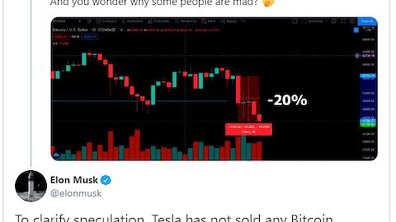 Bitcoin plunges after Elon Musk hints Tesla may sell its crypto stake